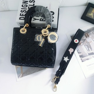 Review Dior Dior Bag Lady Dior Three-Piece Patent Leather Draped Bag Chain Bag Mini Shoulder Crossbody Bag
