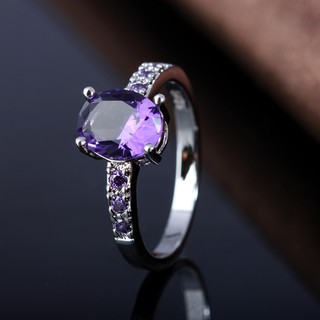 Image # 3 of Review Silver แหวน Oval Cut lingmei Amethyst crystal Gemstone