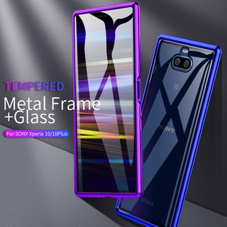Review Sony Xperia 10 Plus XA3 Ultra Slim Metal Bumper Case Tempered Glass Back Cover