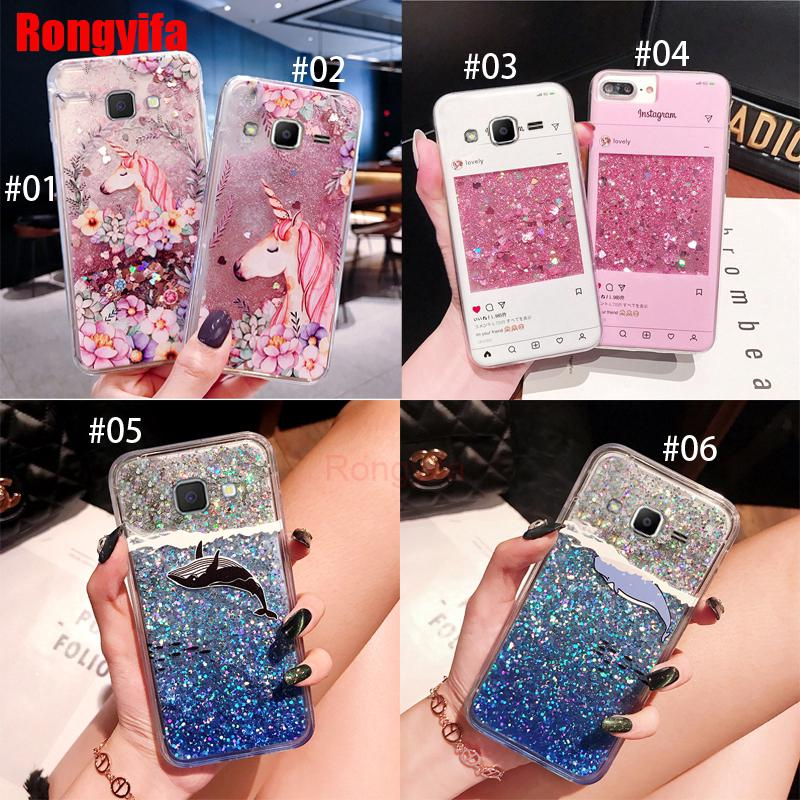 Samsung Galaxy J5 J7 Prime 2016 J4 J6 J4+ J6+ A8+ Plus J8 2018 Case Quicksand Liquid Whale Unicorn Bling Gl