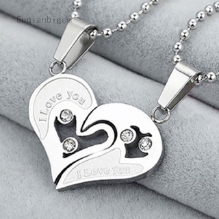 Suqianbigsm   pendant necklace heart-shaped Fashion Modern love couple Beauty necklace