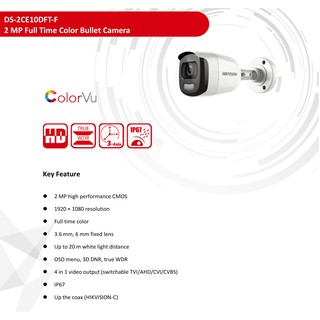 Hikvision กล้องวงจรปิด DS-2CE10DFT-F(3.6mm) 24-hour clorful video, Warm white LEDs 20 m