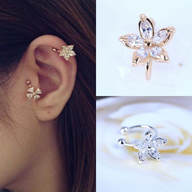 Review 1Pc Women Fashion Nice Punk Flower Golden/Silver Adjustable Ear Cuff Stud Earring Wrap Clip On For Gilrs