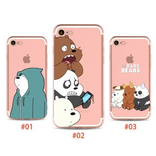 Review COD Cute Cartoon Phone Case กรณี iPhone 6 6s 5 5s SE 7 8 X Plus Case We Bare Bears Back Cover Casing