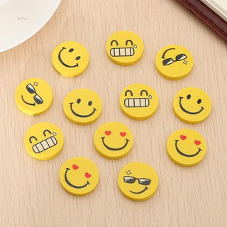 💗Arthur💗12pcs Cute Funny Emoji Smile Face Rubber Pencil Eraser Students Stationery Gift