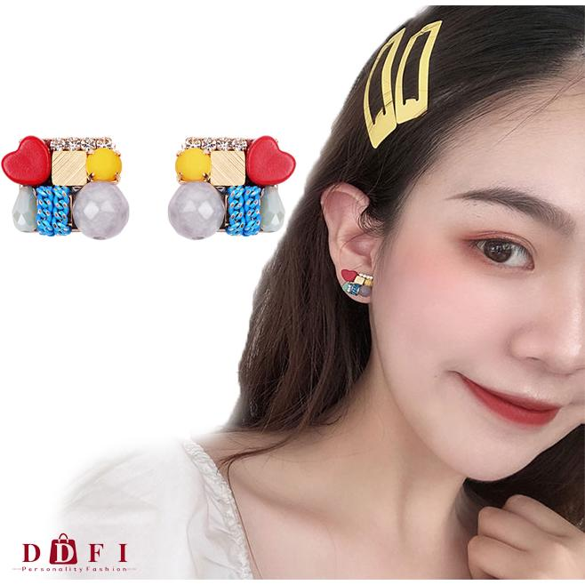 Review DDFIต่างหู S925 Colorful Cute  Ethnic Style Korea Geometry Earrings G1D07