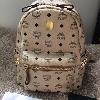 MCM size Small backpack สีเบจ (มื