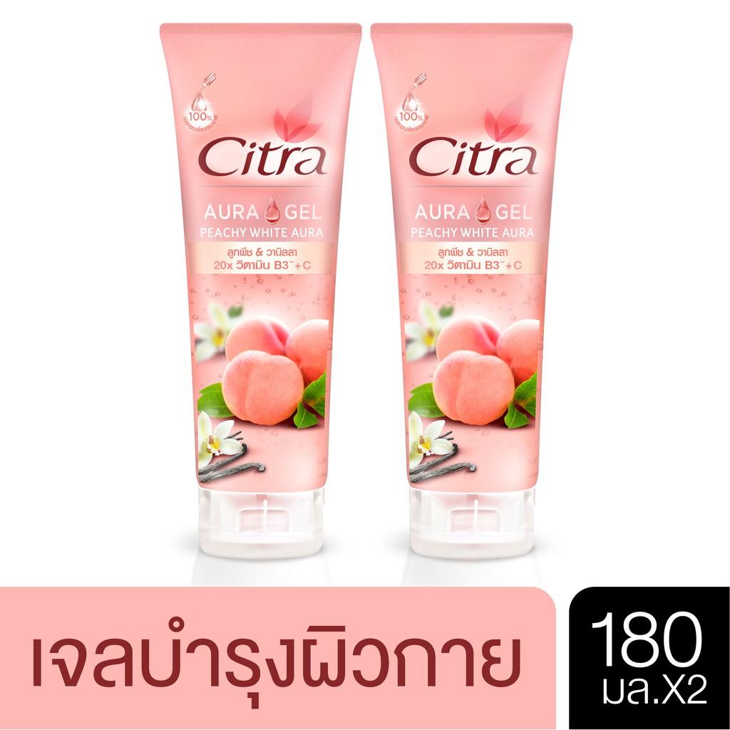 Citra Peachy White Aura 180 ml. (2 pcs) ซิตร้า พีชชี่ ไวท์ ออร่า เจล 180 มล. (2 ขวด) UNILEVER