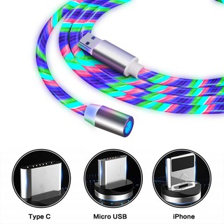 ❤️【COD พร้อมส่ง】LED อุปกรณ์ชาร์จ Magnetic Type C /Micro USB /iphone Cable Fast Charging Data Line For Iphone Android