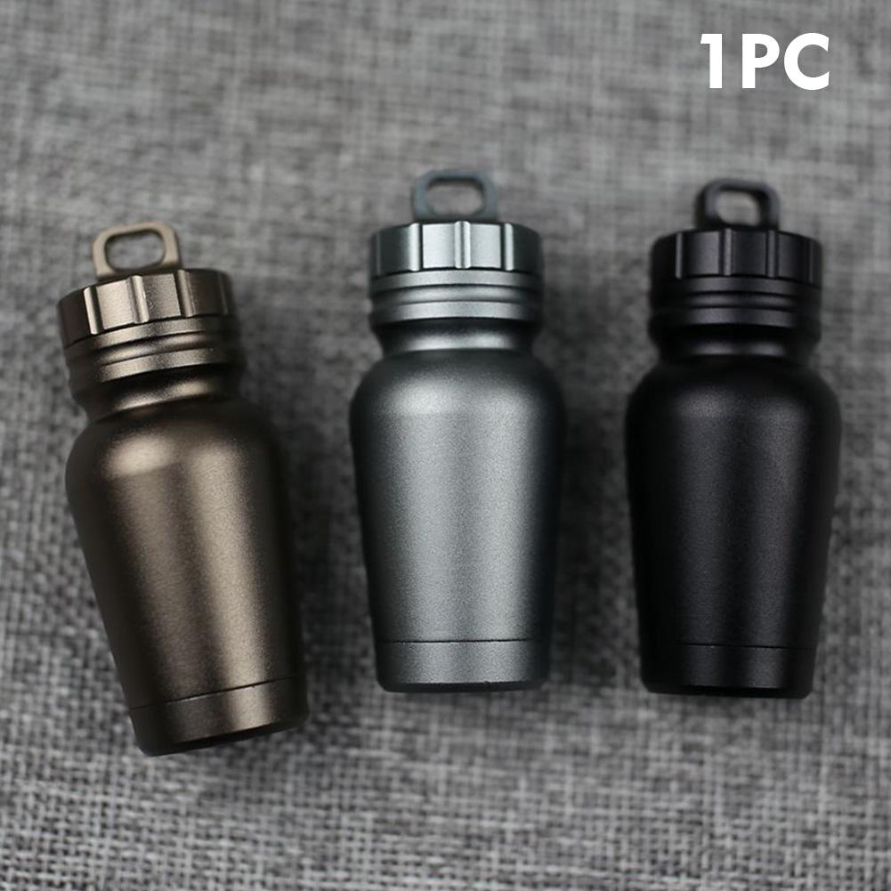 Review Aluminum Alloy Camping Carrying Lightweight Mini Outdoor Waterproof Portable Pill Bottle
