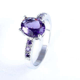 Image # 0 of Review Silver แหวน Oval Cut lingmei Amethyst crystal Gemstone