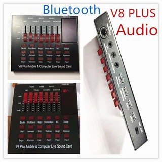 V8 PLUS Audio Live Sound Card for Phone Computer USB Headset Microphone Webcast-(Bluetooth)