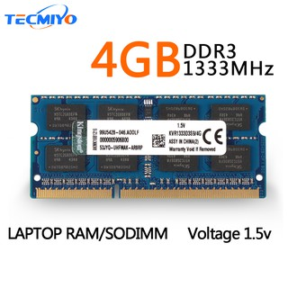 Kingston แรมโน้ตบุ้ค 4GB 2RX8 PC3-10600S DDR3 1333MHz CL9 SO-DIMM