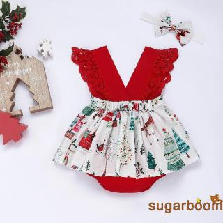 Review Sgm★Christmas Infant Baby Girl Clothes Fancy Lace Dress Romper Headband Outfits