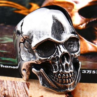 Review Ring Biker Ring Cool Punk Man's Skull Ring Stainless Steel L Fashion Jewelr