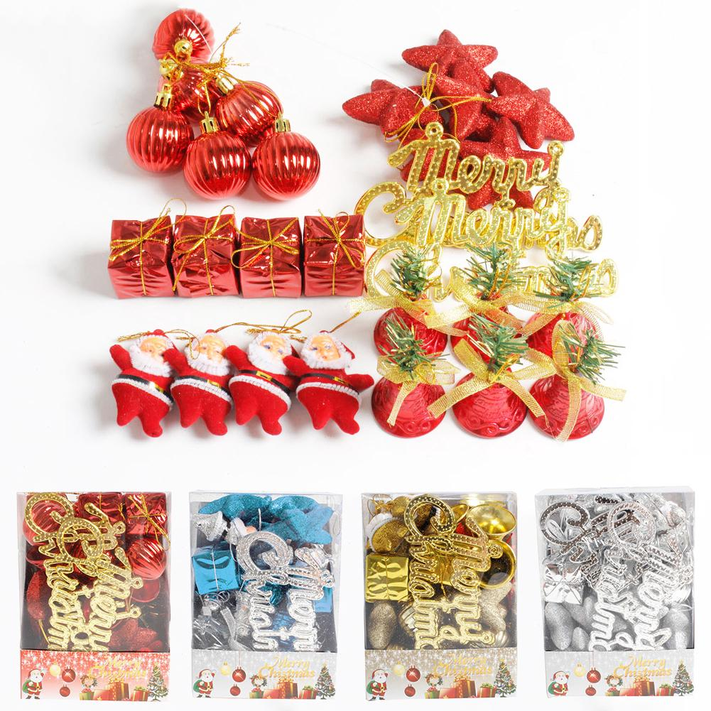Review 28Pcs Christmas Santa Ball Star Gift Box Hanging Ornament Tree Window Home Decor