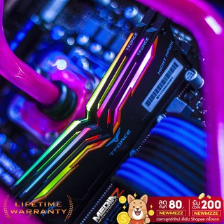 ผ่อน0% DDR4 Night Hawk RGB 16GB bus3200 (8GBx2) T-Force Team Group ram pc ( แรม ) Lifetime War