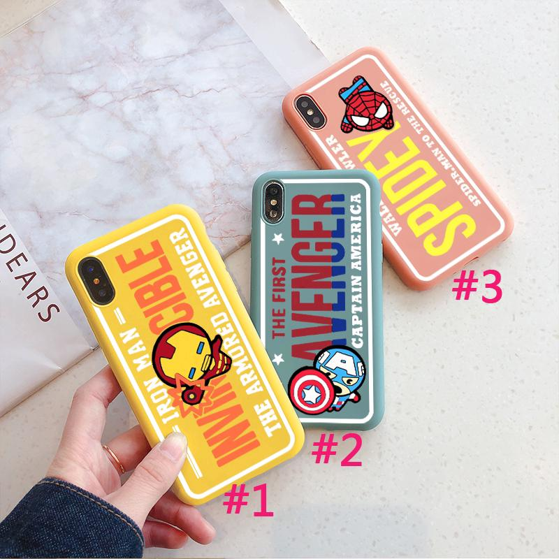 BeeMS กรณี Avengers Case iPhone XS XR XSMAX Spiderman Ironman 6/6s 7/8 6Splus 7plus Captain America 1.5mm Silicone