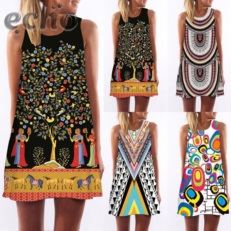 Review Fashion Dress Stylish Ladies Women's Casual Sleeveless Printed Party S/M/L/XL