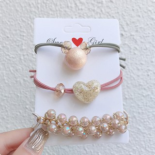 Review New fairy small fresh pearl hair rope set shiny heart-shaped crystal pearl head rope cover ornament