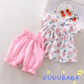 Review DUDUBABA Baby Girls Summer Casual Flare Sleeve Fruit Printed Tops+Shorts Set 0~4 Years Old