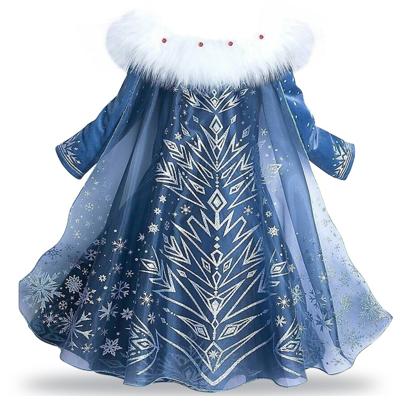 Image # 1 of Review New Snow Queen Dress Kids Cosplay Costume Princess Anna Elsa Dress for Girls Frozen Dresses