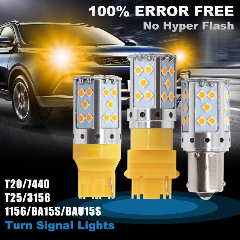 Review 1pcs Car LED turn signal light CANBUS NO ERROR Tail Brake Light amber DRL1156 T20 7440 T25 3156 3030 SMD Car Lights