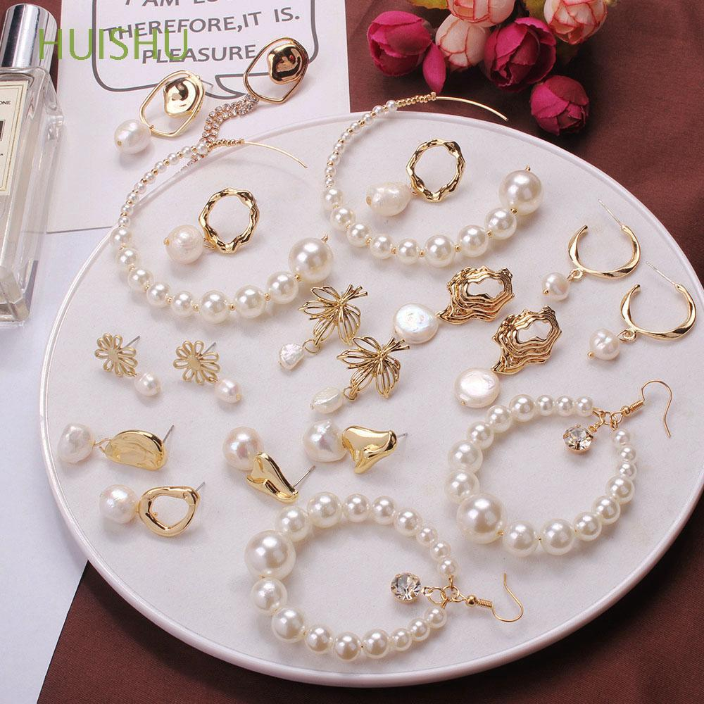 Review Vintage Baroque Party Jewelry Metal Gold Statement Women Girl Gifts Freshwater Pearl Earrings