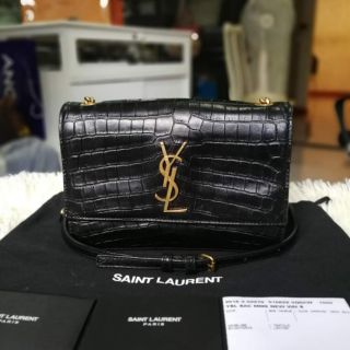 Review Saint Laurent Sunset Shoulder Chain Small Crocodile Black Leather Crossbody Bag  2018
