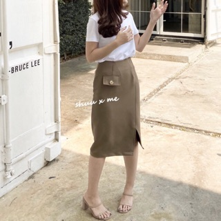 SHUUXME shine skirt - greentea/brown/beige/pink/brick