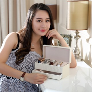 Review มีสินค้า4 Grids PU Leather Jewelry Watch Casket with Drawer Organizer Box