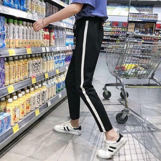 กางเกงวอร์มแถบขาว ดูขายาว สไตล์เกาหลี
