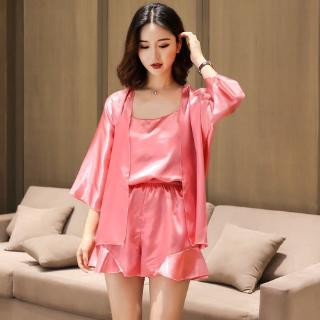 Arroye store Pajamas Women's Ice Silk thin sling shorts three-piece set student cardigan suit loose large size home clothes