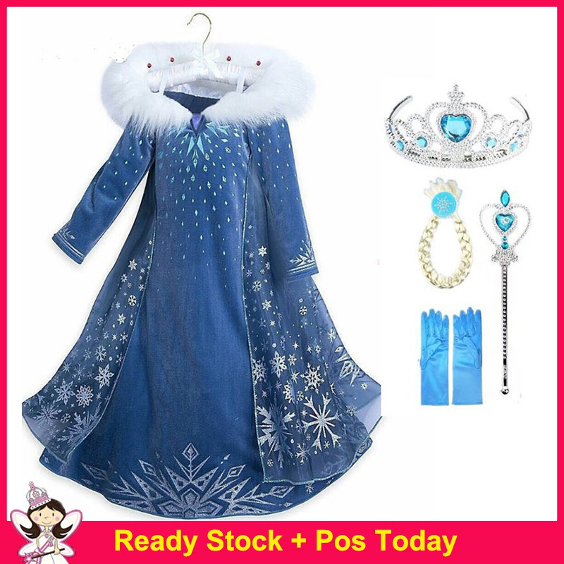 Image # 0 of Review New Snow Queen Dress Kids Cosplay Costume Princess Anna Elsa Dress for Girls Frozen Dresses