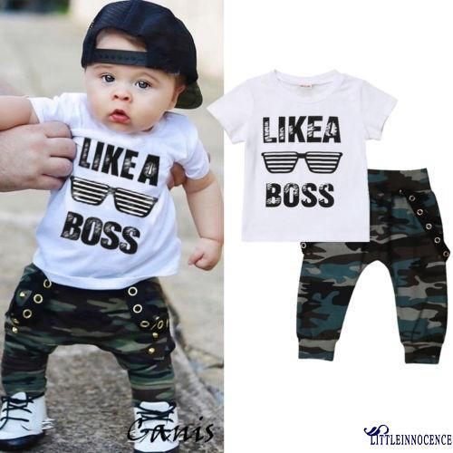 Review XZQ-Toddler Baby Boys Hip Hop Camo Pants Outfits Set Clothes 0-3Yrs