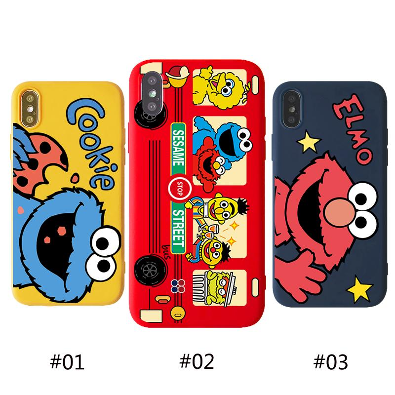 กรณี For iPhone 6 6s 7 8 Plus X XS XR XSMax 11 11Pro 11ProMax Cookie Case Cartoon Sesame Street Elmo C