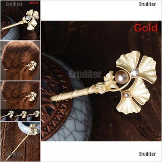 Eruditer Fashion Golden Wedding Bridal Pearl Flower Leaves Hair Sticks Crystal Hair Pins