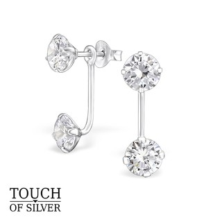 Review Touch of Silver Ear Jacket with Round Cubic Zirconia ต่างหูแจ็คเก็ตเงินแท้ 925 ประดับเพชร CZ