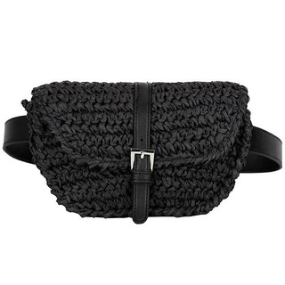 Review TH  Shopping Women Semicircle Straw Bags Lady Waist Fanny Pack t Bag, Black