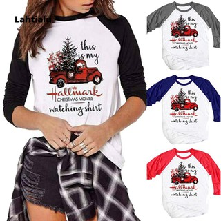 Review Christmas Tree Car Letter Print Long Sleeve Crew Neck T-Shirt Casual Women Top