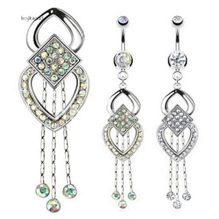 Review 【Fresh】Women Rhinestone Tassels Dangle Chandelier Barbell Piercing Belly Navel Bar Ring