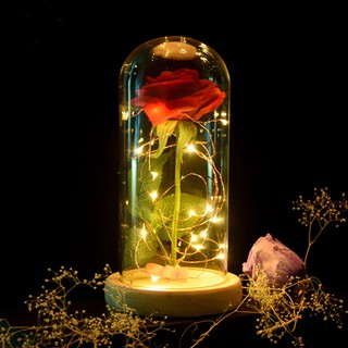 Image # 0 of Review Eternal Flower Red Silk Rose and LED Light with Fallen Petals in Glass Dome on a
