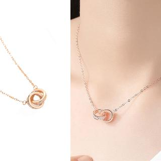 Review Korean Version 100 Full of Diamond Double Ring Necklace Woman Celebrity Jewelry