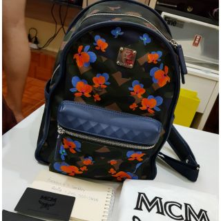 MCM Blue Dieter Floral Camo Nylon Backpack มือสอง สภา