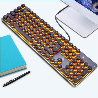 Review ❤MA-NEW❤K100 Steampunk Retro Keycap USB Wired Backlit Gaming Mechanical Keyboard