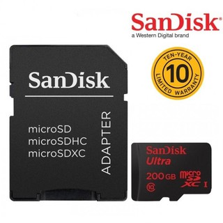 SANDISK MicroSD Ultra 200GB, 90MB/s read, Class10, with SD adaptor