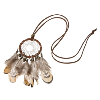 Review New Indian National Bell Feather Dream Catcher Sweater Chain สร้อยคอ