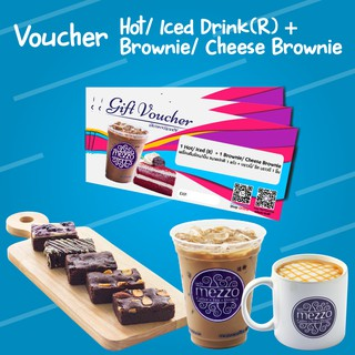 [Physical Voucher] Mezzo Hot/Iced Drink(R)+Brownie/Cheese Brownie 3 pe