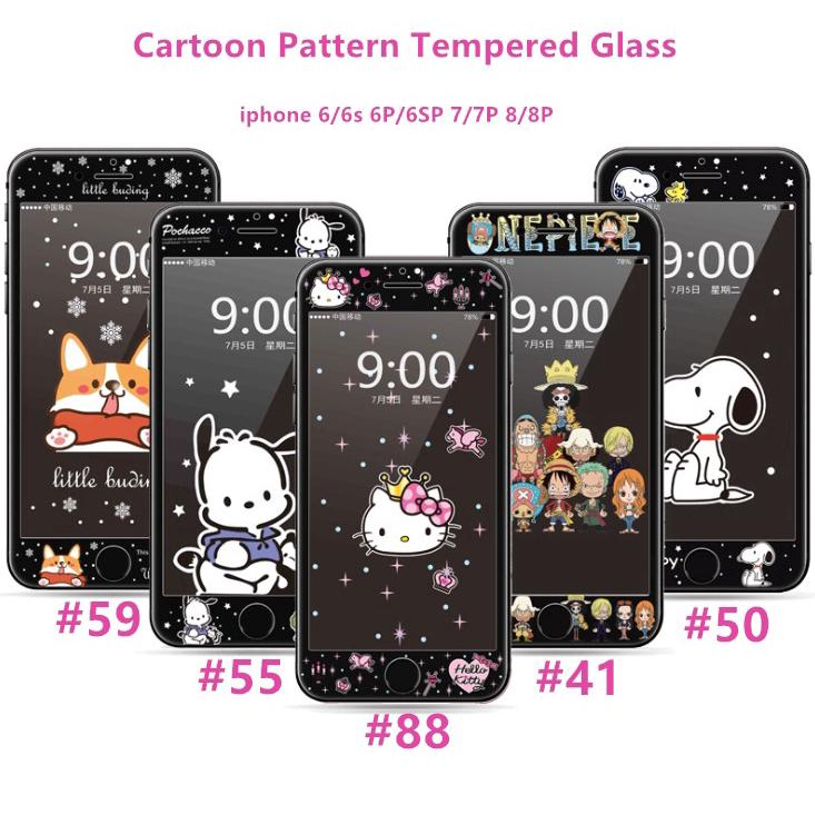 Apple Phone Cover Tempered Glass iphone 6 6s 6plus 7 8 7plus 8plus  Cartoon Pattern Black Full Screen Prot