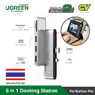 (ประกัน2ปี ส่งจากไทย) UGREEN 70338 Docking Station for Surface,Aluminum USB 3.0 Hub Adapter 5 in 1 support surface